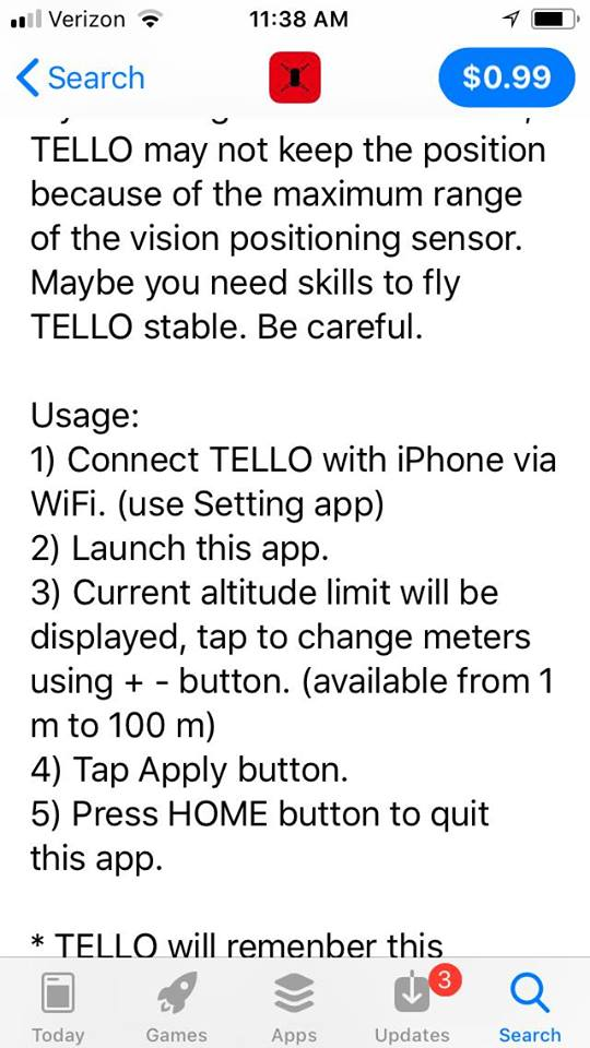 IOS application for changing DJI Tello's maximum height