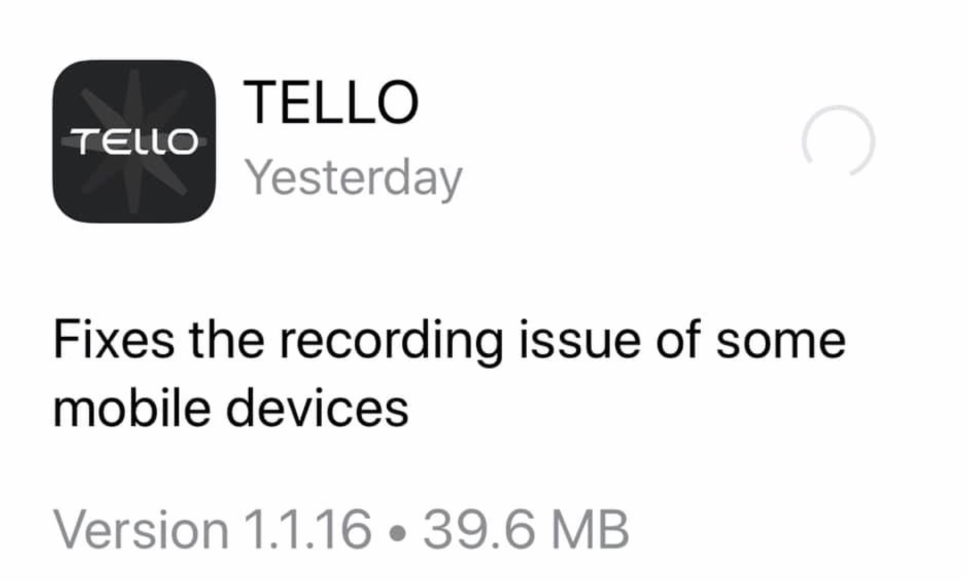 DJI Tello app for iOS updated